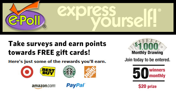 Points for Gift Cards to Your Favorite Places from E-Poll