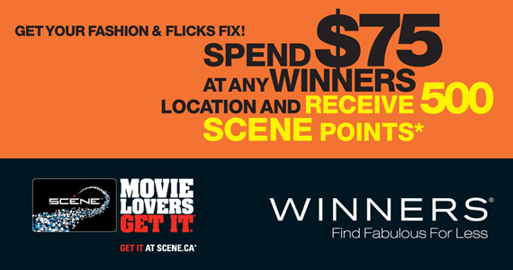 Receive 500 Scene Points When You Spend $75 at Winners with Coupon